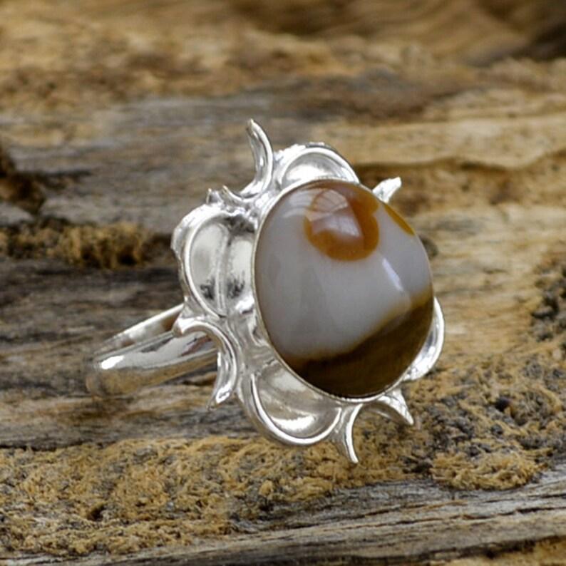 Agate Ring 925 Sterling Silver Ring Designer Silver Beautiful Gift Ring Lovely Ocean Agate Gemstone Ring Artisan Floral Gift Ring