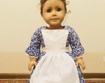 Blue Cotton Colonial Style Dress with Pinner Apron for American Girl dolls Felicity or Elizabeth
