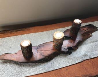 Handmade Cedar / Pine Candle Holder
