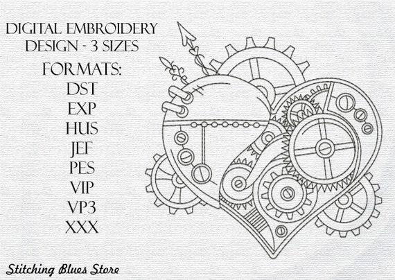 Steampunk Heart Machine Embroidery Design