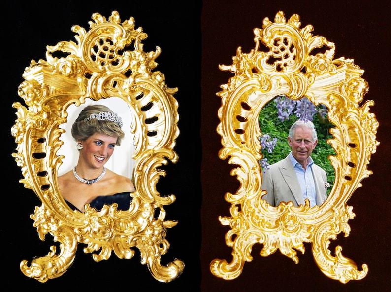 Alexandra and Nikolay II in Baroque frame.Last Russian Royal Family Wall decor.