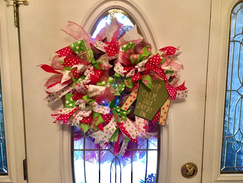 Kentucky Derby Front Door Wreath Keep Calm And Derby On Etsy