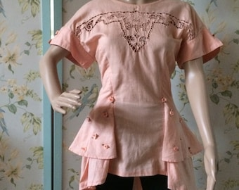 Peach Linen Fitted Tunic