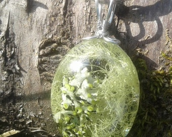 Lichen, moss, terrarium, forest, hippie, pendant, necklace, resin, silver tone, wire wrap, large, oval, glass, hemp, nature