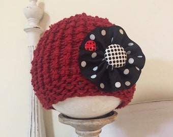 Red hand knit cotton hat for little girls