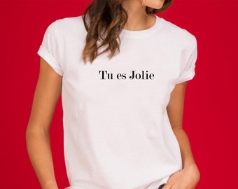 TU es JOLIE T-shirt XS-2XL shirt short sleeve casual letter print french slogan tee blouse summer ladies tops fashion womens clothes gift