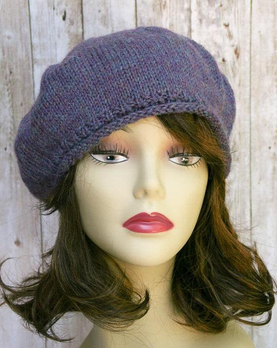 2b0e5e68 Blue Purple Wool knit hat Christmas Gift for Her, Women Winter Beret in  Alpaca