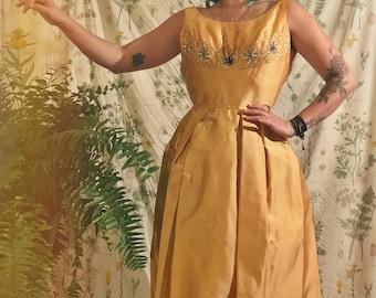 50s Elegant Gold Embroidered Dress