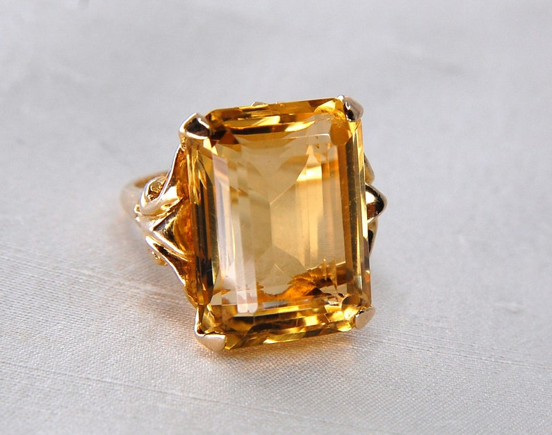 3c4d955910abd Voluptuous 20ct Golden Citrine Cocktail Ring, Emerald Cut, 14k Yellow Gold,  Size 6.5 (Size 6 1/2) c. 1940s, GIA Appraisal