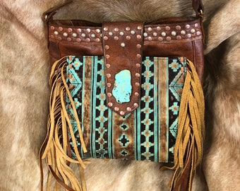Leather Handbag with Fringe, Turquoise Stone