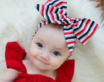 Classic Red, White & Blue Cotton Head Wrap