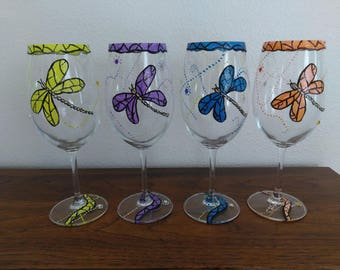 Whimsical Dragonfly Hand-Painted Wine Glasses, Set of 4