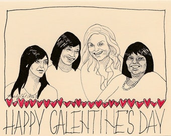 Galentine's Day, 6 Pack with Envelopes, Illustrated by Rachel Anna DeVona