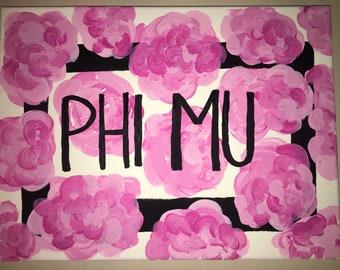 Phi Mu Flower Canvas
