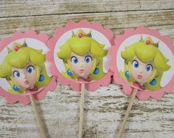 Princess Peach Cupcake Picks Party Birthday Supplies Mario Brothers Theme