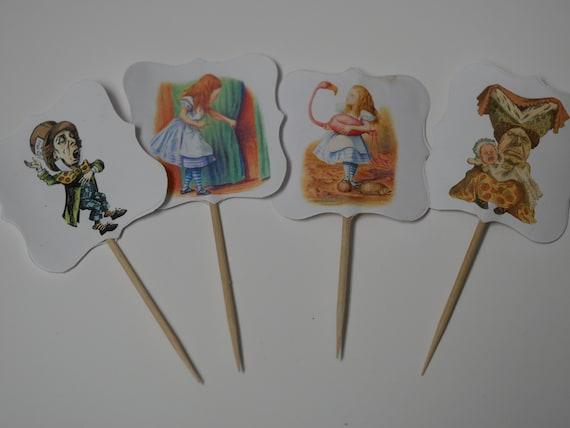Verkauf Satz Von 12 Kuchen Tipps Alice Im Wunderland Etsy