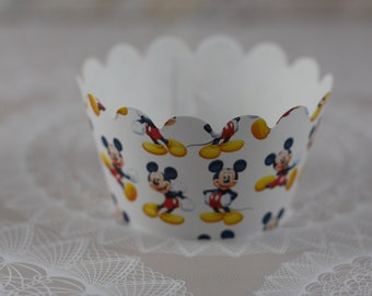 Mickey Mouse Cupcake Wrapper, Cupcake Wrappers,  Set of 12, Mickey Mouse, Baby Shower cupcake wrapper, Birthday cupcake wrappers