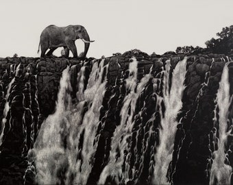 Elephant Art Print   Elephant at Victoria Falls   Scratchboard Fine Art Print   Wildlife & African Decor