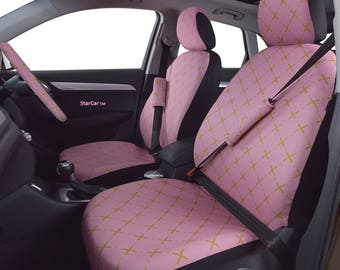 Car Seats Covers Steering Wheel Cover Pink Gold Accessory For Woman Seat Set