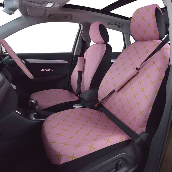 Car Seats Covers Steering Wheel Cover Pink Gold Car Etsy