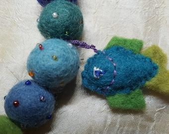 Felt Necklace, Colourful Fish & Balls