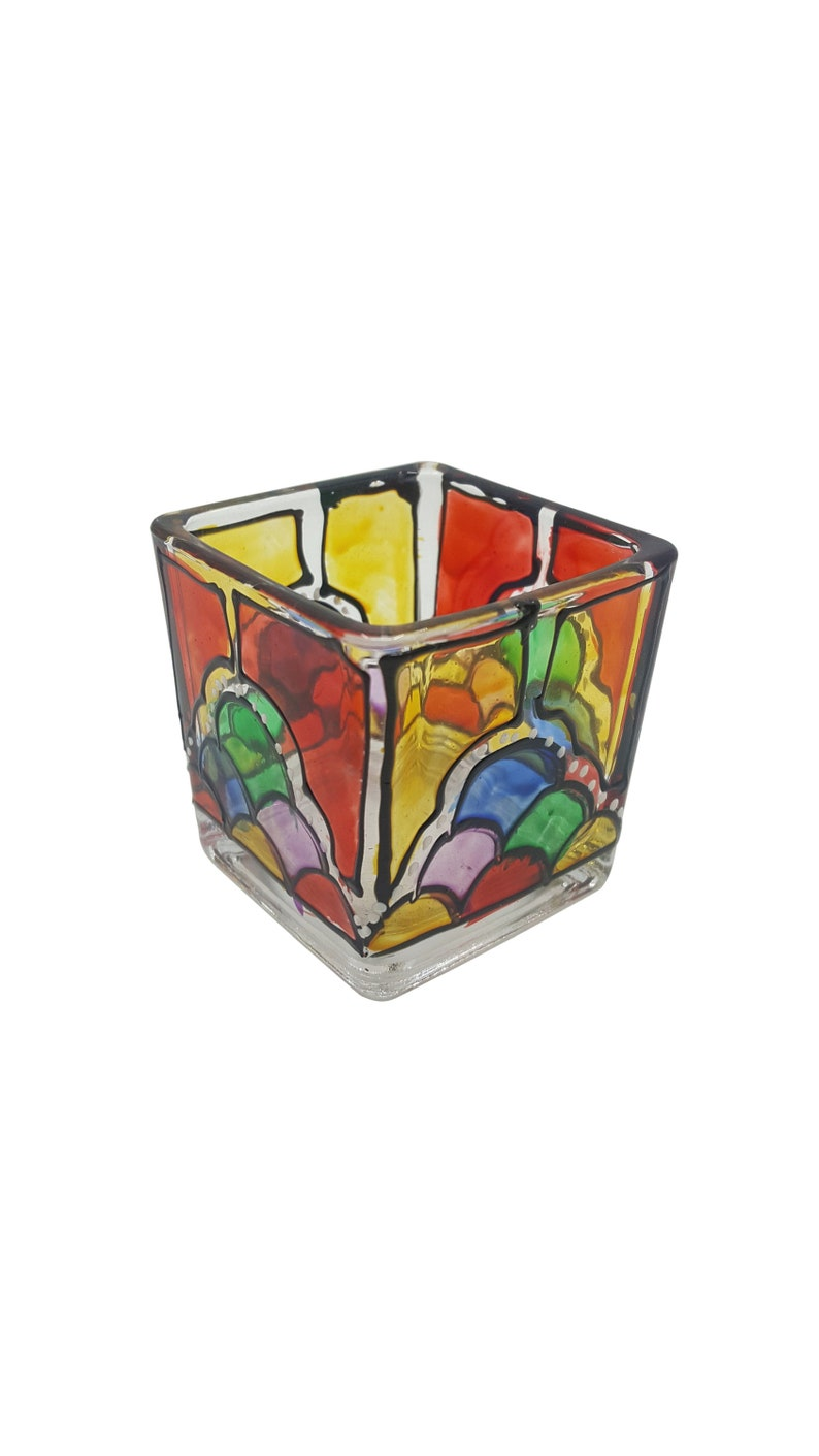 Square Glass Hand Painted Candle holder CAN3
