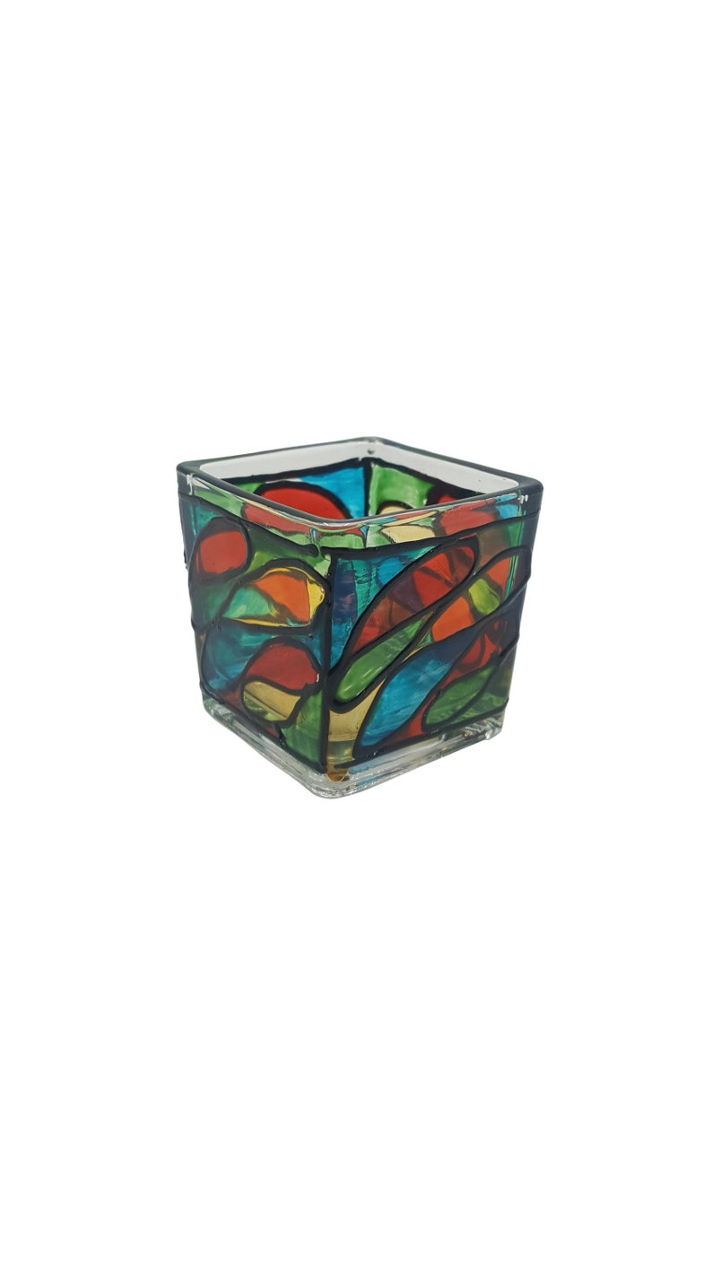 Square Glass Hand Painted Candle holder image 0