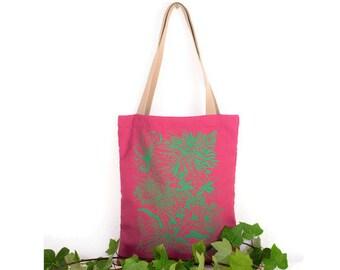 Bag with handles. Totebag Rosa. Pink and green bag. Stamped bag. Stamped Tote. Totebag summer. Buenavidastudio. Vegan fashion.