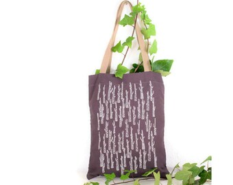 Bag with handles. Totebag Purple. Purple and white bag. Stamped bag. Stamped Tote. Totebag summer. Buenavidastudio. Vegan fashion.
