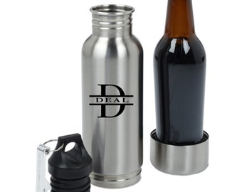 Personalized Stainless Steel Beer Bottle Keeper / Bottle Holder