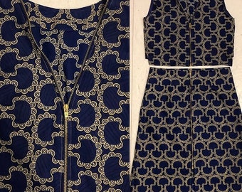 728cf5d8f41515 Blue and gold Ankara co-ord top and skirt set with gold zip detail