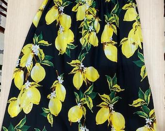 Lemon print midi skirt with elasticated waist