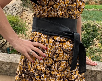 Ankara yellow, white and black print shift dress