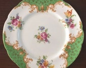 4 PARAGON Rockingham Green Bread and Butter Plates, Set of 4, Double Warrant quot HM The Queen HM Queen Mary quot , Bouquet Center, 1939, Easter