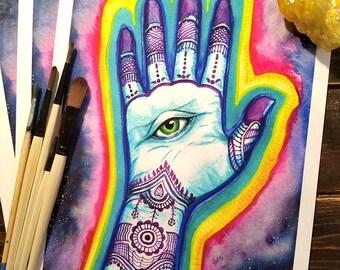 "9"" x 12"" Giclée print: Henna Hand"