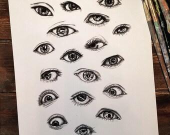 "9"" x 12"" Giclée print: Eyes"