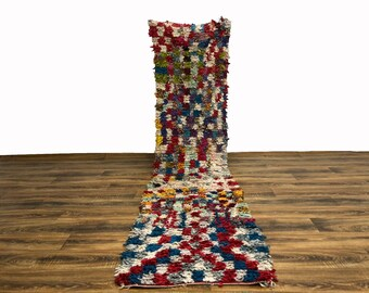 Narrow Moroccan Berber Vintage Boucherouite runner rug!