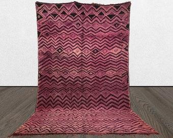 Vintage Berber purple rug 6x11, Morrocan Tribal Bohemian large area rug, azilal Boho large Moroccan rug,