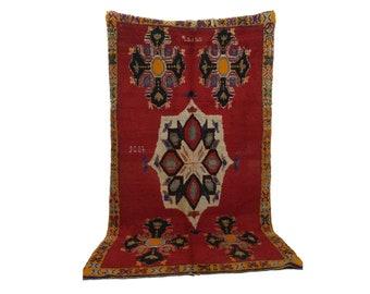 Moroccan Vintage rug, 4x8 morrocan Berber Azilal rug, Tribal Bohemian Moroccan Colorful Wool rug,  Vintage woven rugs Vintage Carpet