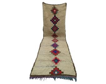 Moroccan Berber Vintage narrow runner rug 3x10, morrocan boujad tribal rugs Boho Decor, bathroom boucherouite woven Bohemian stair runners.