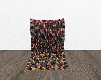 3x6 Moroccan Berber Colorful rug, Boho Moroccan BERBER wool rug, Tribal Bohemian woven rugs, Morrocan Colofrul Vintage Boucherouete rugs