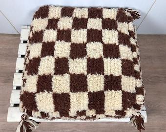 Brown Moroccan Berber checkered Flour Pouf,