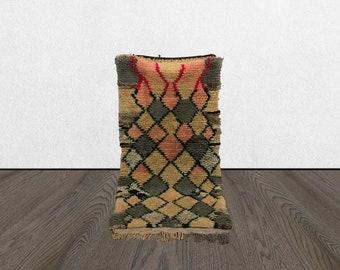 2x5 vintage small accent rug, Moroccan Bohemian azilal woven rug, Morrocan Berber Boho rug,