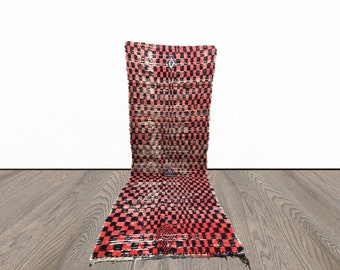 Faded Red and Black Vintage Moroccan checkered runner rug!