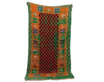 Moroccan Area Rug 3x7, Colorful berber rug Vintage, Morrocan woven rug, wool rug, boucherouite tribal rug, bathroom rugs, moroccan boho rugs