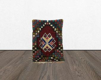 Moroccan Vintage door math 3x4, Morrocan Small area rug, Bohemian woven kitchen mat, Moroccan Berber Unique tapis, Morocco Boho Old Kilim