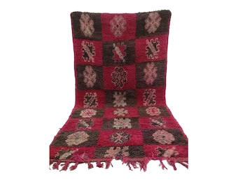 Moroccan Vintage rug 3x7, morrocan Berber Azilal rug, Tribal Bohemian Moroccan Colorful Wool rug,  Vintage woven rugs Vintage Carpet