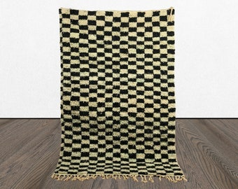 Black and white rug, Checkered rug, Moroccan Checker rug, Berber checkerboard rug, Morocco checked rug, 8x10 rug, custom wool rug,