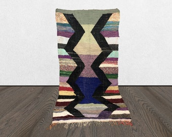 Berber Vintage rug, Moroccan Kilim rug, Boucherouite Kilim, Striped kilim rug, 4x8 area rug,