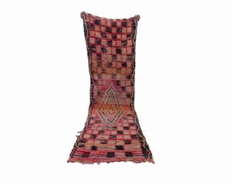 Moroccan Berber Vintage checkered runner rug 2x9 ft, Morrocan boujad tribal Boho Decor, bathroom boucherouite woven Bohemian stair runners.